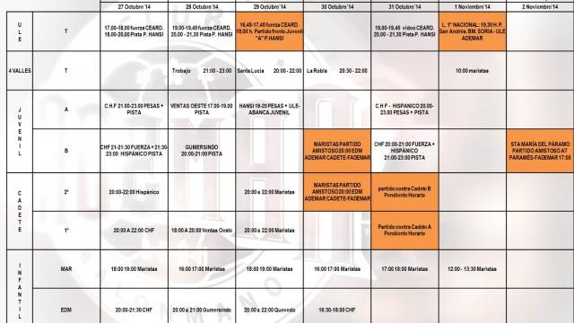 ABANCA ademar cantera semana 27 al 2 Noviembre 14