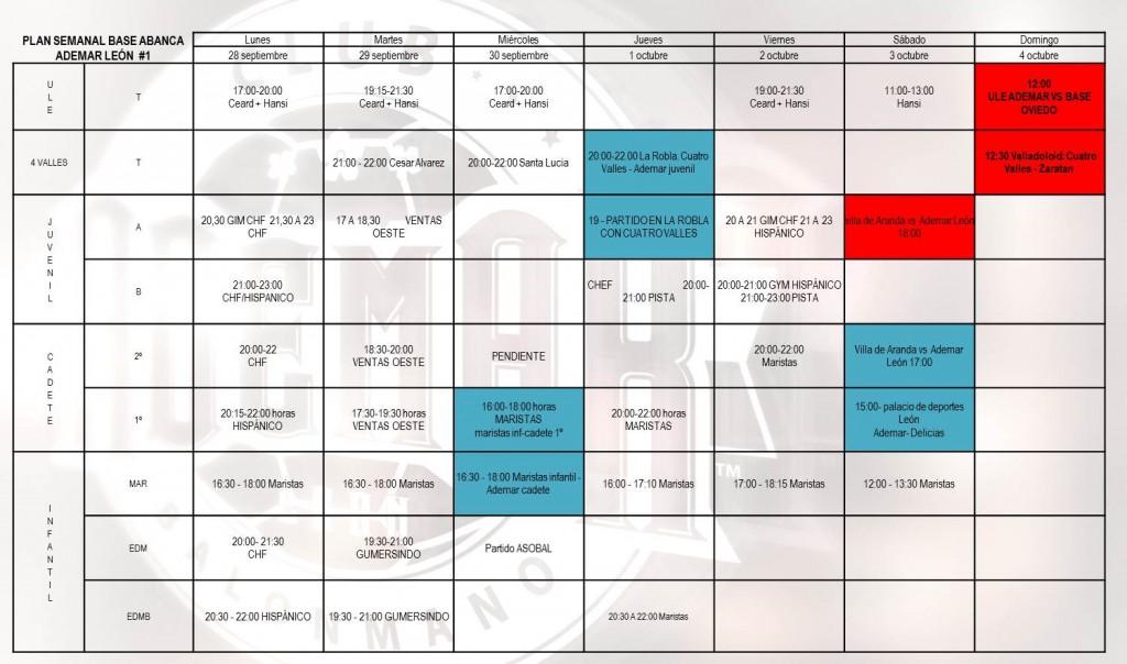 Plan semanal base Abanca Ademar 1_sem 28 al 4 oct 2015